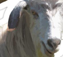 Portrait of a Horned Goat Grazing Vector Sticker