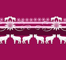 White lambs on a pink background by Nika Lerman