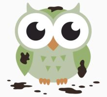 Cute green cartoon owl covered in mud by MheaDesign