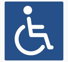 Blue disabled symbol stickers, square with rounded corners by Mhea