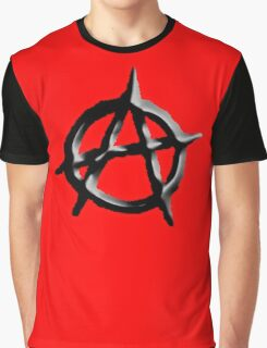 ANARCHY, ANARCHIST, Revolution, Protest, Disorder, Unrest, Symbol on red in black Graphic T-Shirt