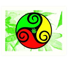 Reggae Love Vibes - Cool Weed Pot Reggae Rasta T-Shirt Stickers and Art Prints with Grunge Texture Art Print