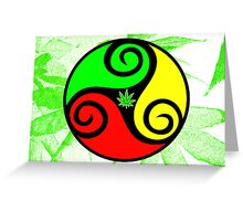 Reggae Love Vibes - Cool Weed Pot Reggae Rasta T-Shirt Stickers and Art Prints with Grunge Texture Greeting Card