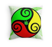 Reggae Love Vibes - Cool Weed Pot Reggae Rasta T-Shirt Stickers and Art Prints with Grunge Texture Throw Pillow