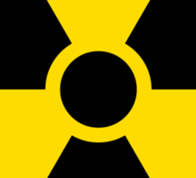 Nuclear radiation symbol, black border Sticker