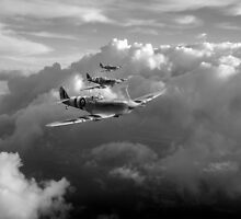 Spitfires among clouds black and white version by Gary Eason + Flight Artworks