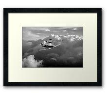 Spitfires among clouds black and white version Framed Print