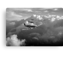 Spitfires among clouds black and white version Canvas Print