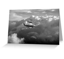 Spitfires among clouds black and white version Greeting Card