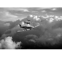 Spitfires among clouds black and white version Photographic Print