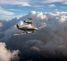Spitfires among clouds by Gary Eason + Flight Artworks