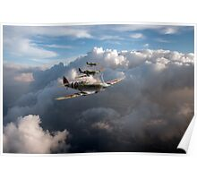 Spitfires among clouds Poster
