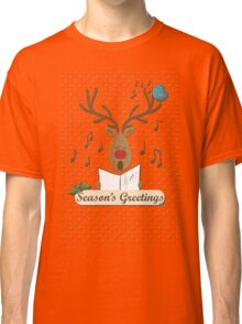 Reindeer Singing Christmas Carols Cartoon Illustration Classic T-Shirt