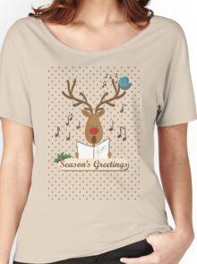 Reindeer Singing Christmas Carols Cartoon Illustration Women's Relaxed Fit T-Shirt