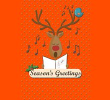 Reindeer Singing Christmas Carols Cartoon Illustration Unisex T-Shirt