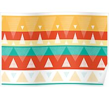 Vibrant textured triangles stripes pattern Poster