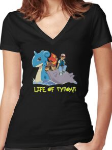 Life Of Pyroar Women's Fitted V-Neck T-Shirt