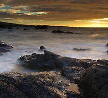 Lava rock in mist at sunset by Kenji Ashman