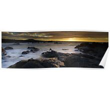 Lava rock in mist at sunset Poster