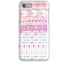 Trendy pink teal watercolor arrows tribal pattern  iPhone Case/Skin
