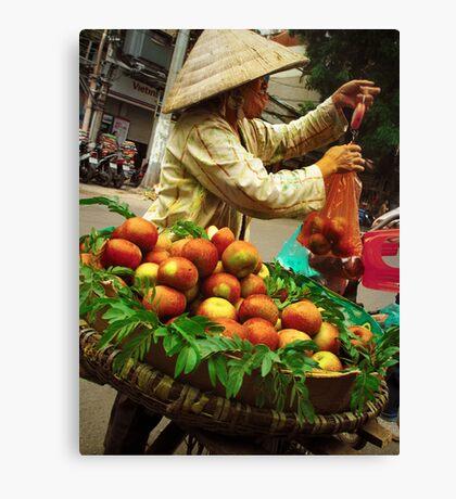 Apple Seller Canvas Print