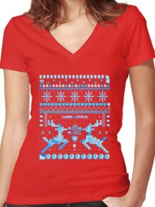 Game Over - 8-bit Ugly Christmas Sweater Women's Fitted V-Neck T-Shirt