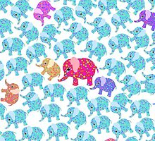 Pink teal abstract floral whimsical elephants  by Maria Fernandes
