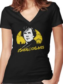 #SherlockLives Women's Fitted V-Neck T-Shirt