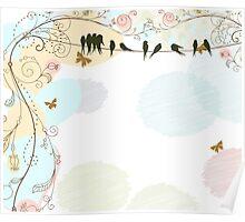 Pastel Antique Birds Poster