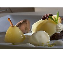 Braised Williams Pear with chocolate bonbon mousse Photographic Print