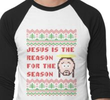 Jesus is The Reason for The Season Ugly Christmas Sweater Men's Baseball ¾ T-Shirt