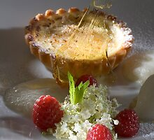 Sour cream tartlet au gratin with elderflower ice cream h by Stefan Bau