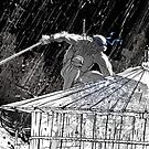 Ninja Turtle Leonardo in the Rain by James Tuer