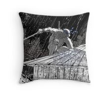 Ninja Turtle Leonardo in the Rain Throw Pillow