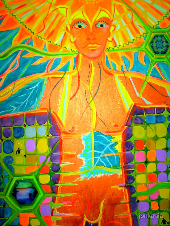 Connecting Consciousness - Huge original painting Visionary Art by jonkania