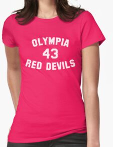 Olympia Red Devils - #43 - White Text Womens Fitted T-Shirt