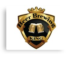 Golden Beer Brewing King Crown Crest Canvas Print