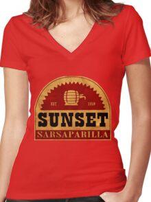 Sunset Sasparilla  Women's Fitted V-Neck T-Shirt