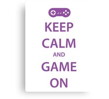 KEEP CALM and GAME ON (purple) Canvas Print
