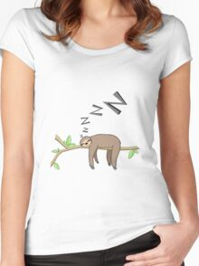 Sleeping sloth Women's Fitted Scoop T-Shirt