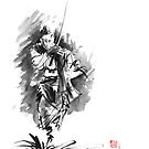 Samurai sword bushido katana martial arts sumi-e original running ronin ink painting artwork by Mariusz Szmerdt