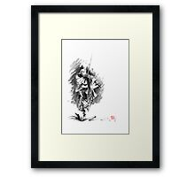 Samurai sword bushido katana martial arts sumi-e original running run man design ronin ink painting artwork Framed Print