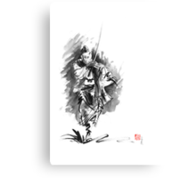 Samurai sword bushido katana martial arts sumi-e original running run man design ronin ink painting artwork Canvas Print