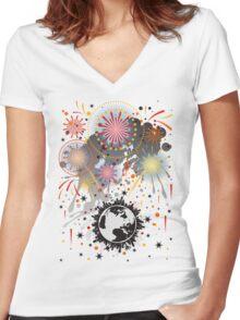 Fireworks Women's Fitted V-Neck T-Shirt