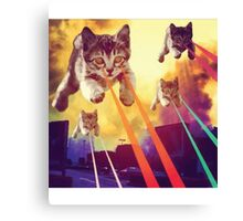 Laser Eyes Space Cats Flying T-Shirt Canvas Print