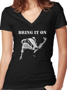 Badger Fights Back (safe) Women's Fitted V-Neck T-Shirt