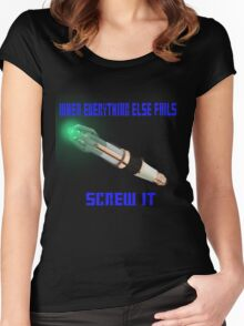 Doctor Who Sonic Screwdriver Motto Women's Fitted Scoop T-Shirt