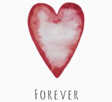 "Red watercolor heart with text ""forever"" stickers by MheaDesign"