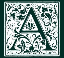 William Morris Renaissance Style Cloister Alphabet Letter A by Pixelchicken