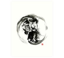 Aikido techniques martial arts sumi-e black white round circle design yin yang ink painting watercolor artwork Art Print